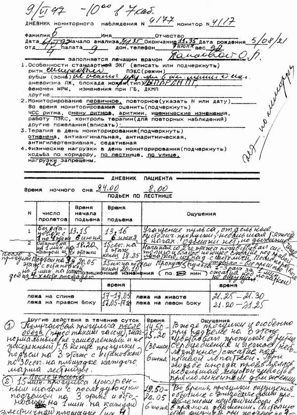 дневник мониторного наблюдения образец заполнения
